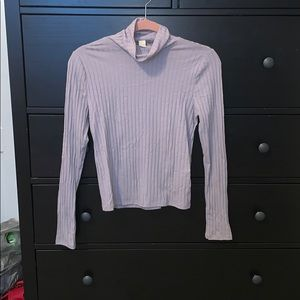 Long sleeve ribbed high neck tee